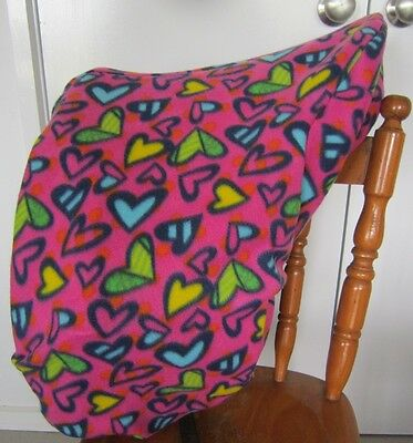 Horse Saddle cover Pink & Multi Hearts  FREE EMBROIDERY All Australian Made