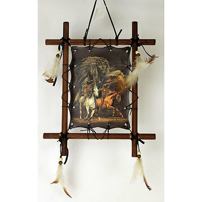"""11"""" x 9"""" Framed Indian Picture - Riding Horses"""