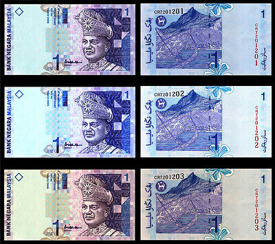 !COPY! 3 x MALAYSIA RM1 SATU RINGGIT BANKNOTES !NOT REAL!