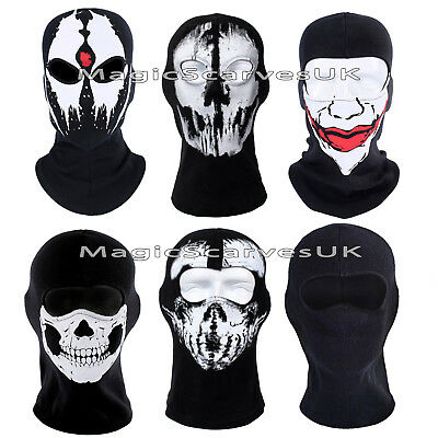 Biker Balaclava Full Face Mask Neck Warmer Tube Ghost Skull Scarf Bandana Ski