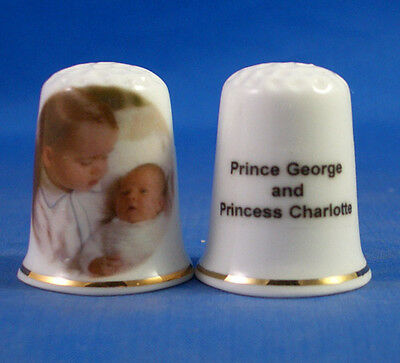 Fine China Thimble - Prince George And Princess Charlotte Of Cambridge