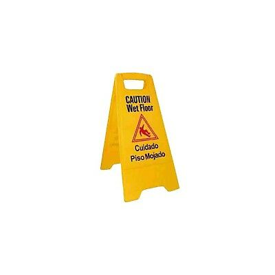 Winco WCS-25 2-Sided Wet Floor Caution Sign Yellow 1 Winco