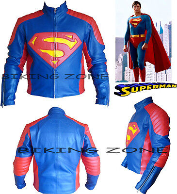 Superman Style Ce Armours Mens Motorbike / Motorcycle Leather Jacket & Suit