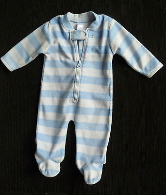 Baby clothes BOY 3-6m Baby blue striped fleece sleepsuit COMBINE POST SEE SHOP!