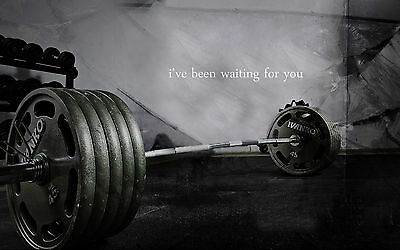 A3 Poster - Weights on the Gym Floor (Picture Art Bodybuilding Workout Lifting)