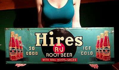 Original 1950s Embossed Hires Root Beer Sign Antique Drink Soda Girl Cola