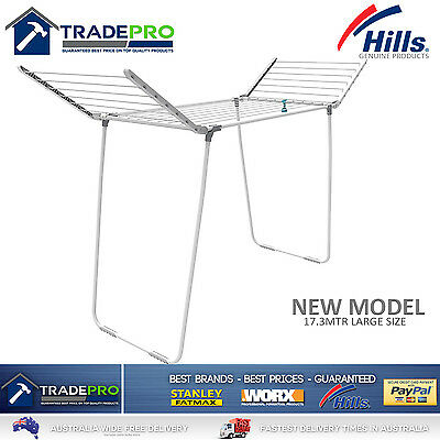 Hills Clothes Line Airer Premium 2 Wing Family 17.3Mtr Portable Clothesline