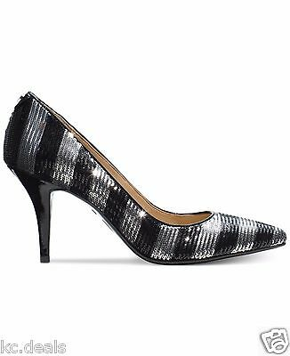3722f73a5c83 Michael Kors Mk Flex Mid Pump Black Silver Stripe Sequin Slip On Shoes  Multisize