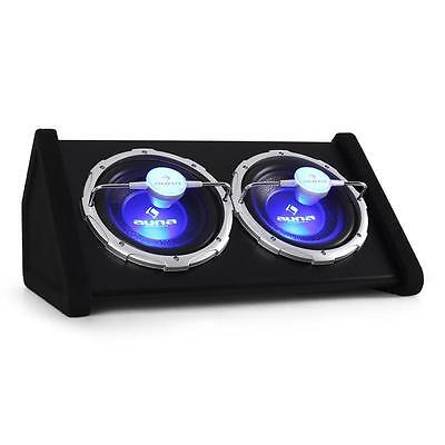 """2X 10"""" Double Subwoofer with Blue LED Light Effects By Auna 1600 Watt Car Sub"""