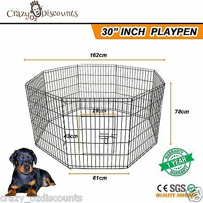 """30"""" 8 Panel Pet Playpen Portable Exercise Cage Fence Dog Puppy Rabbit Play Pen"""