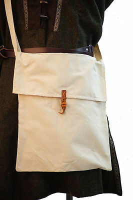 Medieval-Larp-Pagan-Reenactment-LARGE LINEN KIT-MESSENGER WATER BAG-Natural