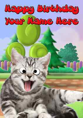 Googly Eyes cat All Occasions Personalised Greeting Card Birthday PIDG9 GIFTS