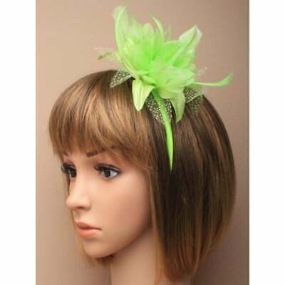 Lime green fascinator set on alice band with chiffon flower and feather tendrils