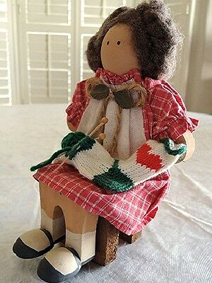 Lizzie High 1997 LAURA VALENTINE Doll with Bench Hand Crafted Wood #1223