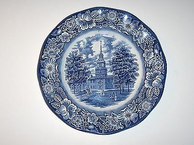 Vintage Staffordshire Liberty Blue China, Dinner plate, Independence Hall