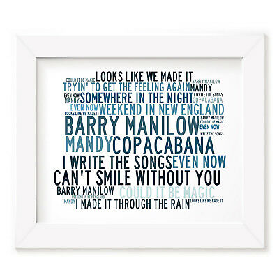 `Crystalline` BARRY MANILOW Art Print Typography Song Lyrics Signed Music Poster