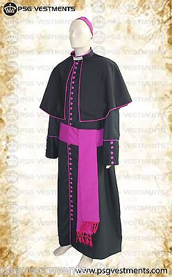 33 buttoned bishop cassock with purple trim + Shoulder cape + band cincture