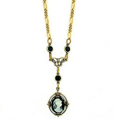 "16"" 24K Gold Plated Jet Black Crystal Vintage Victorian Look Cameo Necklace"
