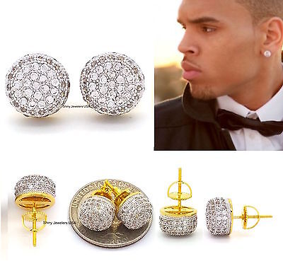 Mens 18K Yellow Gold Filled Lab Diamond Screw Back Hip Hop Stud Earrings