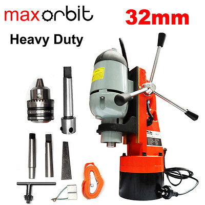 "Heavy Duty Magnetic Base Drill 32mm, Mt2 Spindle + 3/4"" Annular Cutter Holder"