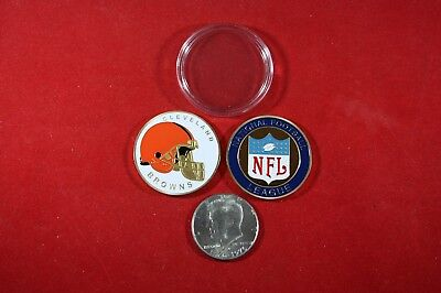 NFL Football Team Coin: Cleveland BROWNS w/ Hard Case Poker Card Protector