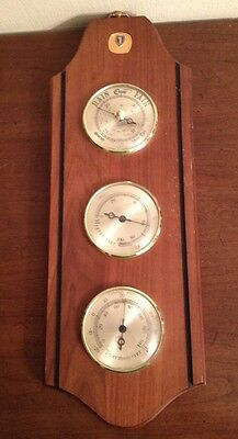 VINTAGE WOOD Balfour WEATHER STATION Barometer Thermometer Humidity Needs TLC