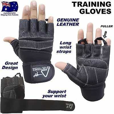 Austodex Weight Lifting Leather Gym Fitness Training Bodybuilding Straps Gloves