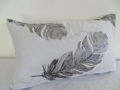 Two Toned Grey Peacock Feather Brocade Look Rectangular Cushion Cover 30x50