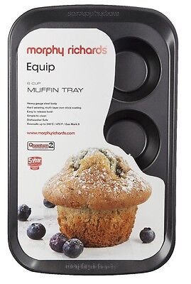 Morphy Richards Equip 970509 6 Cup Muffin Tray Non Stick Cupcake Tray Muffin Pan