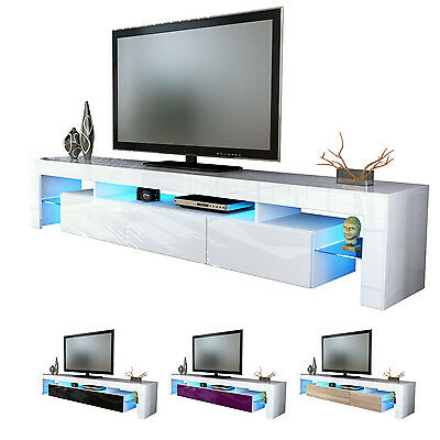 "White High Gloss Modern TV Stand Unit Media Entertainment Center ""Lima V2"""