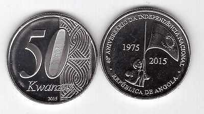 ANGOLA - NEW ISSUE 50 KWANZAS UNC COIN 2015 YEAR BIMETAL 40th ANNI INDEPENDENCE