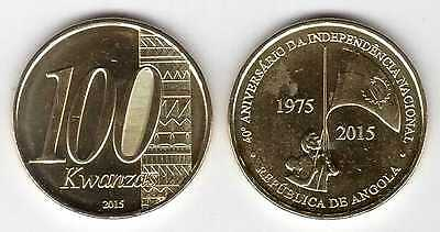 ANGOLA - NEW ISSUE 100 KWANZAS UNC COIN 2015 YEAR BIMETAL 40th ANNI INDEPENDENCE