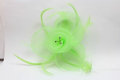 Green fascinator sinamay flower with crystals and feather tendrils on clear comb