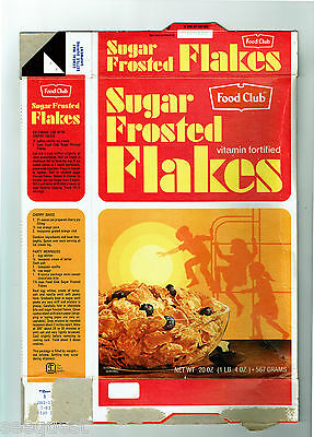 Sugar Frosted Flakes Food Club 20 oz. Cereal Box 1982