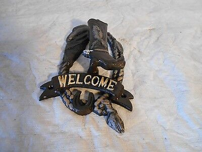 VINTAGE COLLECTIBLE UNIQUE COW BOY BOOT WELCOME Black Door Knocker  Home Decor