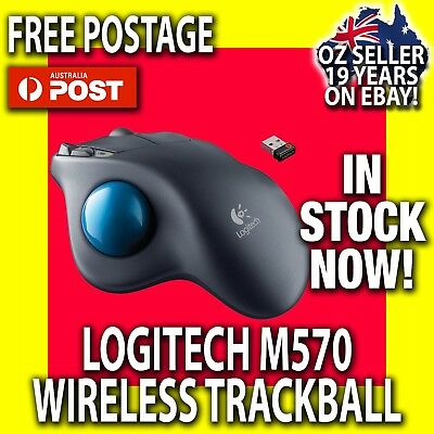 ✅Logitech Wireless Trackball M570 Mouse + Unifying Receiver PC+Mac (OZ WARRANTY)