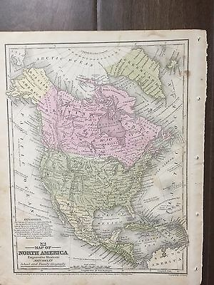 "Hand-Colored Map of North America(1855)-""Mitchell's School Atlas"""
