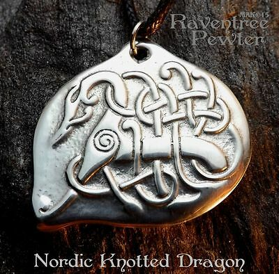 Nordic Knotted Dragon- Pewter Pendant - Norse, Celtic Knotwork, Jewelry