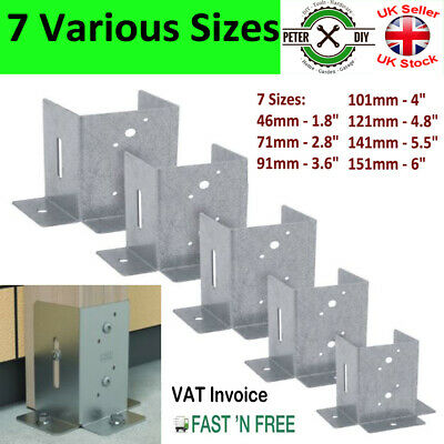"Galvanised Bolt Down ""Rectangular"" Post Fence Foot 46 71 91 101 121mm (1.8-4.8"")"
