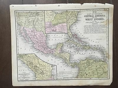 "Hand-Colored Map of Central America  (1855)-""Mitchell's School Atlas"""