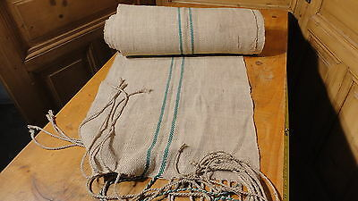 A Homespun Linen Hemp/Flax Yardage 15 Yards x 20'' Green Stripes #7506