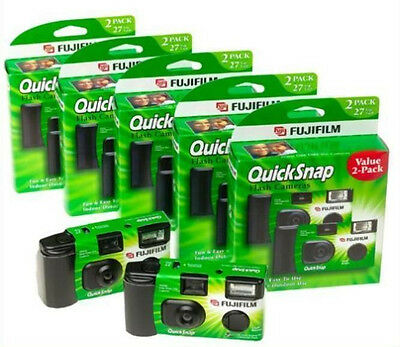 10 Pack Fujifilm QuickSnap 400 Speed Single Use Disposable Camera with Flash