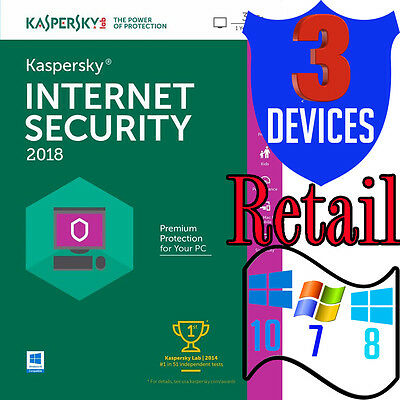 Kaspersky Internet Security 2018 Antivirus 1-year 3 Device Multi User PC Retail