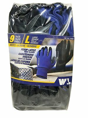 Lot of 9 Pairs Wells Lamont  Large Men's Foam Latex Work Gloves - Brand New