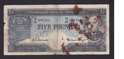 Five Pounds Pound Paper Banknote Commonwealth of Australia Coombs Wilson B-820