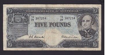 Five Pounds Pound Paper Banknote Commonwealth of Australia Coombs Wilson B-808