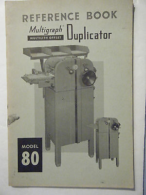 Reference Manual For Multilith Model 80 Press, Multigraph Offset Duplicator 1955