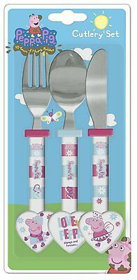 Spearmark Childrens Peppa Pig Winter Knife Fork Spoon Cutlery Set Gift Age 3 - 4
