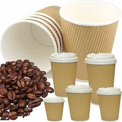 Kraft Hot Drinks Paper Cups, Tripple Insulated, Tea, Coffee, Disposable, Lids