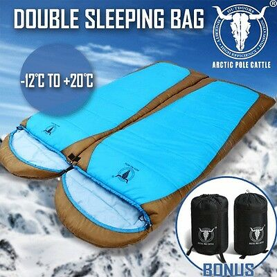 Double Camping Envelope Twin Sleeping Bag Thermal Tent Hiking Winter -12° C Blue